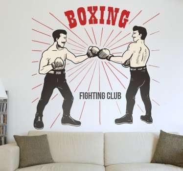 From our collection of sports stickers, a boxing wall decal with an old-school vintage style.