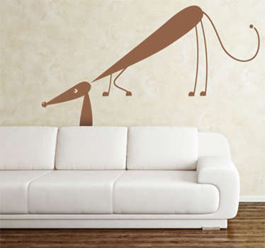 Wall Stickers - Illustration of a friendly dachshund sniffing around. Available in various colours and sizes.