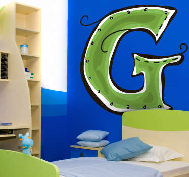 Decorative sticker of the letter G. Does your child´s name start with G?  A brilliant decal to decorate your child´s room.