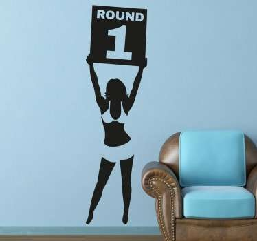 A fun wall sticker with a silhouette design of a ring girl showing the end of round 1 in boxing fight.