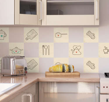 From our range of kitchen decals, a border sticker with with various kitchen related items with simple designs, including cutlery, cups and a kettle.