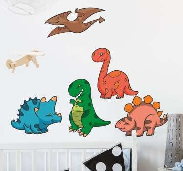 A set of stickers with 5 cute looking and colourful dinosaurs with a cartoon design. Ideal touches for decorating dinosaur themed children's bedrooms.