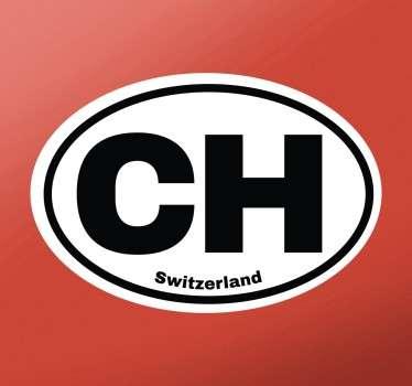 Dekorativer Aufkleber mit dem amtlichen lateinischen Namen der Schweiz - CH - und dem englischen Namen Switzerland.