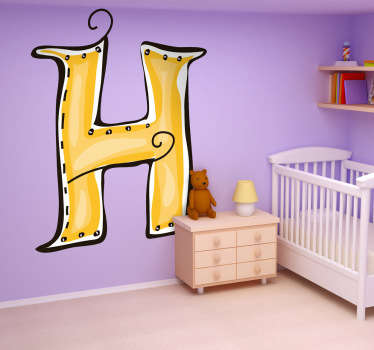 Decorative sticker of the letter H. Does your child´s name start with H?  A brilliant decal to decorate your child´s room.