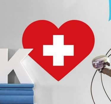Adesivo bandiera svizzera a forma di cuore