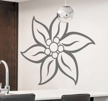 A beautiful floral wall sticker with a design of a Swiss Edelweiss flower to decorate any room in your home.
