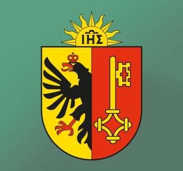 Questo adesivo murale rappresenta il Cantone di Ginevra. Sulla metà sinistra è raffigurata un'aquila nera con una corona rossa.