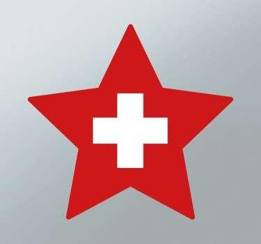 Autocolante bandeira da Suíça forma estrela