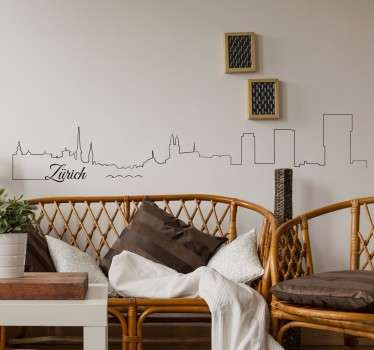 A beautiful wall sticker with the outline of Zurich's skyline. A simple and stylish design of this Swiss cities most recognised buildings.