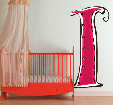 Decorative sticker of the letter I. Does your child´s name start with I?  A brilliant decal to decorate your child´s room.