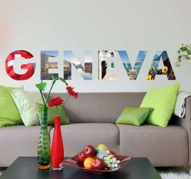 An impressive photo wall mural with a designed inspired by the Swiss city of Geneva.