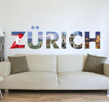 From our collection of photo wall murals, a design of the word 'Zurich' with images of this beautiful Swiss city.