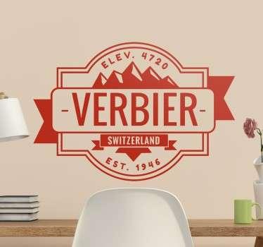 Sticker représentant la station de sports d'hiver du Valais, le Verbier, en Suisse.
