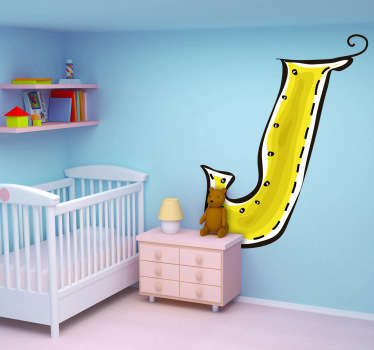 Decorative sticker of the letter J. Does your child´s name start with J?  A brilliant decal to decorate your children´s room.