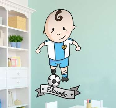 A wall sticker with a fun cartoon illustration of a young footballer in action. Add your child's name to make this sticker more personal to them!