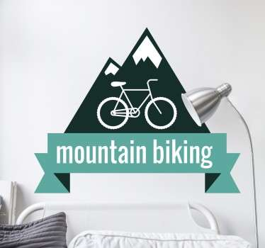 Do you love the thrill of cycling at full speed down a mountain? Then you are sure to love this great mountain biking sticker!