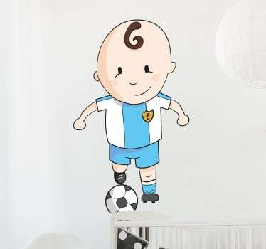 A sweet kids wall sticker with a cartoon design of a little boy playing with a football.