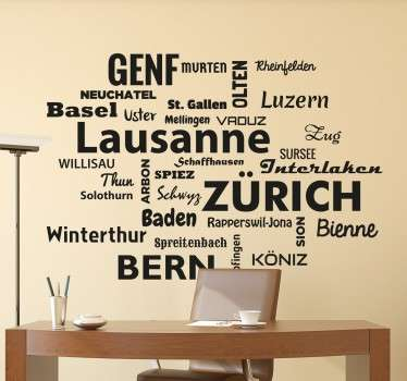 Adesivo nomi città Svizzera