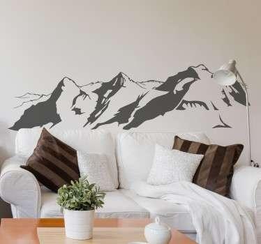 瑞士阿尔卑斯山剪影装饰墙贴纸