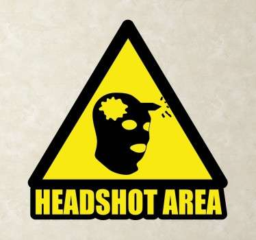 Video game vinyl decal design of a head shot area. It is available in any required size and it is self adhesive and easy to apply on flat surface.