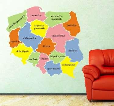 Naklejka Mapa Polski Województwa