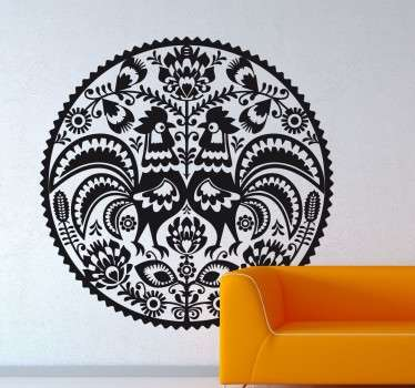 Sticker cercle coqs et fleurs