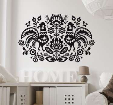 A wall sticker with a beautiful symmetrical design of ornate floral patterns and two hens. Ideal for adding a decorative touch to any room.