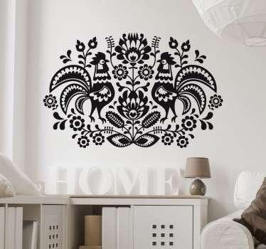 стикер на стену с красивым симметричным рисунком из декоративных цветочных узоров и двух кур. идеально подходит для добавления декоративных штрихов в любую комнату.