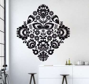 sticker monochrome fleurs style traditionnel applicable sur toutes surfaces.