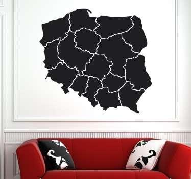 Naklejka Mapa Polski Województwa Jednokolorowa