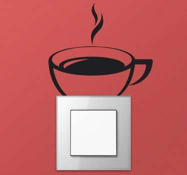 Kaffekopp lysbryter klistremerke