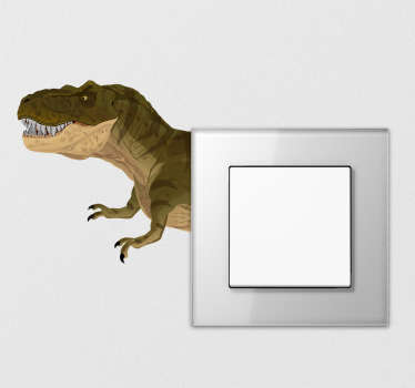 A creative and fun idea to decorate your little one's light switches in their bedrooms! T-Rex Dinosaur Switch Sticker. Easy to apply.