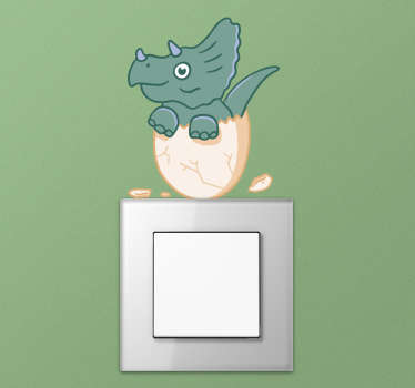 Sticker interrupteur dinosaure gentil personnalisable.