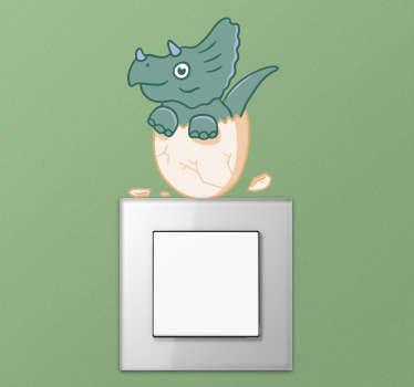 Lichtschalteraufkleber lachender Dinosaurier