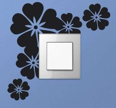 Vinil decorativo interruptor flores monocromático