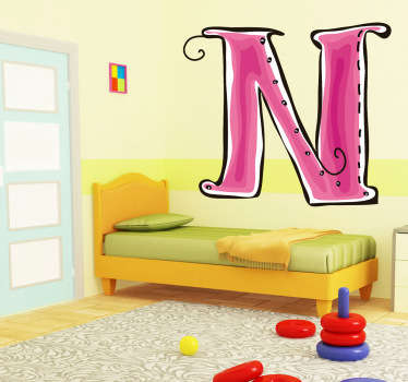 Decorative sticker of the letter N. Does your child´s name start with N?  A brilliant decal to decorate your children´s room.