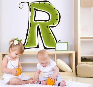 Decorative sticker of the letter R. Does your child´s name start with R?  A brilliant decal to decorate your child´s room.