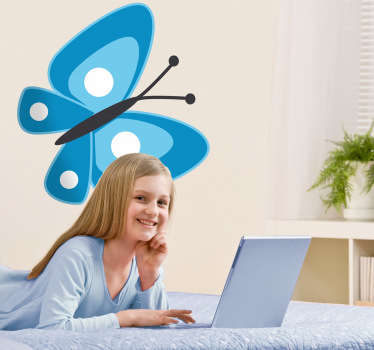 Sticker kinderkamer blauwe vlinder