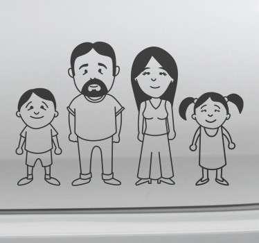 Aufkleber vierköpfige Familie