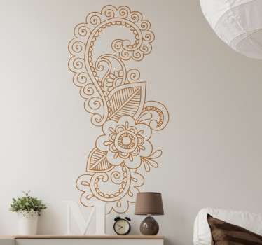 A wall sticker with a beautiful floral design inspired by mandala flowers. Ideal for adding elegant decorative touches to any room in your home.