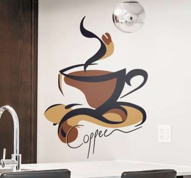 "Abstract wall sticker with a design of a hot cup of coffee in brown and beige shades and the word ""coffee"" written below in a stylish cursive font. Ideal for decorating your kitchen or even cafes and restaurants in an original way."