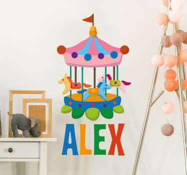Sticker enfant carrousel personnalisable