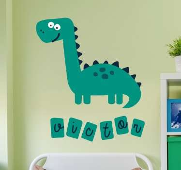 Personalisiertes Wandtattoo grinsender Dino
