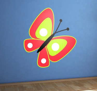 Rød sommerfugl barn klistremerke