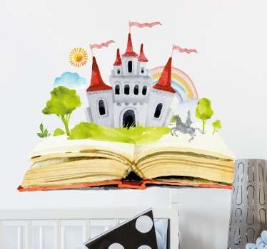 An enchanting fantasy wall sticker with a water colour design of a castle emerging from a story book. If you're looking to decorate their bedroom with a fun fairy tale theme then this wall sticker is ideal for creating a magical atmosphere in your child's room!