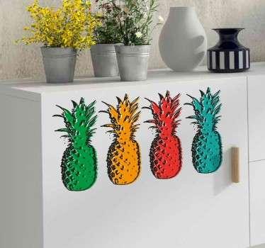 Naklejka ścienna cztery ananasy