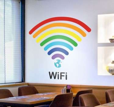 A bright and colourful rainbow wall sticker that will attract customers inside your establishment! Ideal for cafes and restaurants, or any businesses that offers free WiFi.