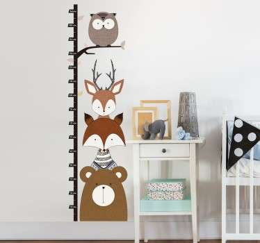 森林動物の高さの図のステッカー