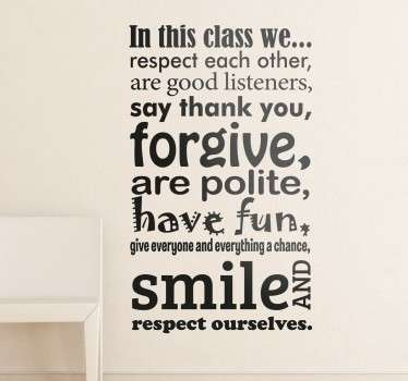 "Are you a teacher, looking to personalise your classroom? Then we have the perfect wall sticker for you"" Lay down the rules of the class with this wall decal Like many of our stickers this design comes in various sizes and colours"