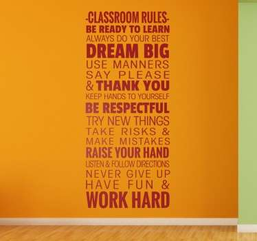Classroom wall stickers - Decal that outlines the important classroom rules that students should follow Part of our wall stickers for school collection.